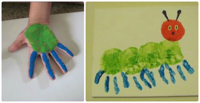 ¿Te gustaría pintar una oruga con las manos?