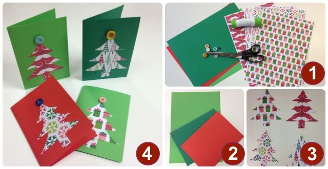 Postales navide as con cartulina y botones kh7 for Manualidades navidenas con cartulina