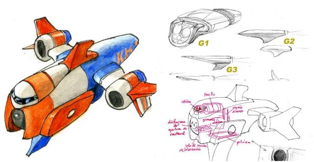 Boceto de la nave del nuevo spot KH-7 by Bayona