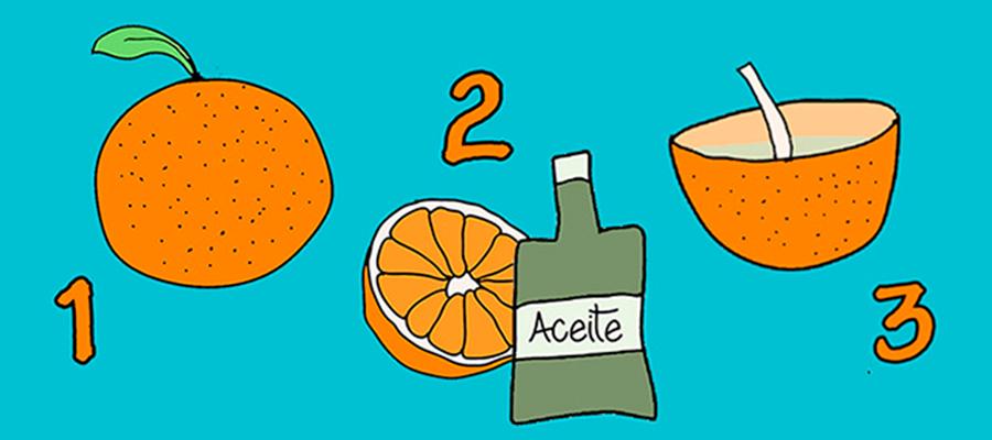 Velas de aceite con naranja